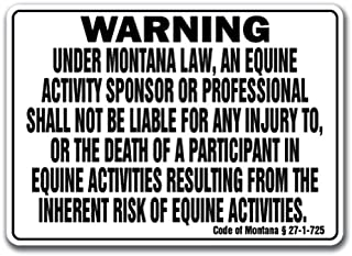 Montana Equine Sign Activity Liability Warning Statute Horse Farm Barn Stable