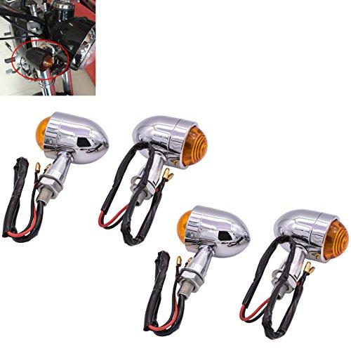 TUINCYN Mini Motorrad Indikator Blinker Licht Form von Kugel Universal schwarz Motorrad fahren Leuchtmittel für Motorrad Chopper Bobber Cafe Stadt Sport Fahrrad 12 V (Pack von 4)