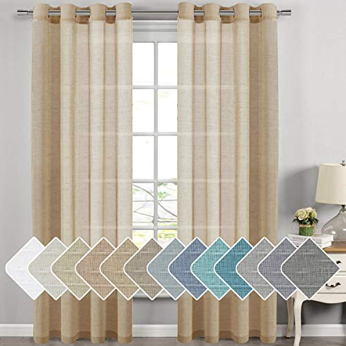 H.VERSAILTEX Decorative Home Fashion Linen Sheer Curtains Extra Long Curtains for Living Room, 1 Pair Natural Open Weave Linen Curtains Sheer Grommet Top (Set of 2, 52 by 108 Inch, Taffy)