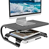 Monitor Riser Desktop Stand with Vented Metal and 2 Tier Desk Organizer Stand for Computer, Laptop, LED, LCD, OLED Flat Screen Display, and Printer (STT001B) by WALI, Black, 1 Pack