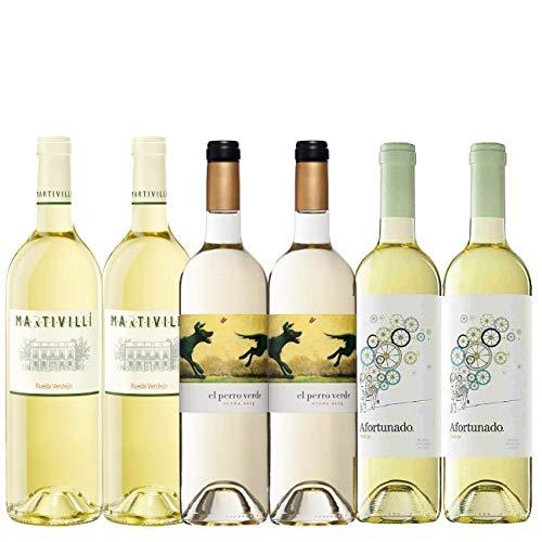 Pack Vino Blanco Verdejo | Vinos DO Rueda | Vinos Verdejo | 2 bot. Vino Perro Verde + 2 bot. vino Martivilli + 2 bot. Vino Afortunado