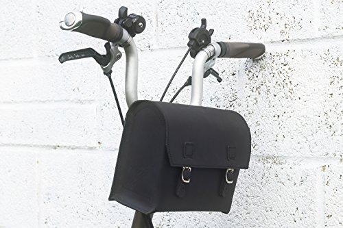 London Craftwork Bolsa de bicicleta XXL grande de piel auténtica para manillar BROMPTON 23 x 19,5 x 11 cm XXL-BL