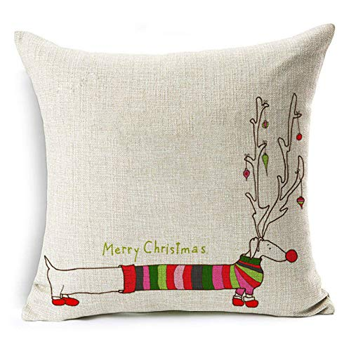 Jiaquhome Merry Christmas Cotton Linen Cushion Covers Reindeer Xmas Trees Pillow Cover Home Decor 2pc