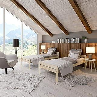 NeedSleep® Lit en bois complet avec sommier à lattes et tête de lit | Lit d'appoint pour personnes âgées, adolescents, enf...