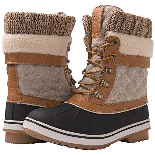 GLOBALWIN Women's Camel/Beige Winter Snow Boots 8M