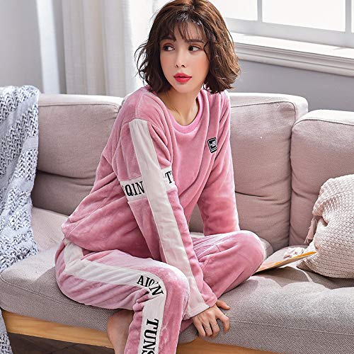 DFDLNL Conjunto de Pijamas de Invierno para Mujer, Ropa de hogar para Amantes de la Historieta de Franela Nocturna, Conjuntos de Pijamas para Adultos a Juego, Ropa de casa Femenina M SJ-R706