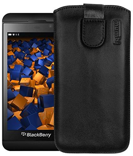 mumbi Echt Ledertasche kompatibel mit BlackBerry Z10 Hülle Leder Tasche Hülle Wallet, schwarz