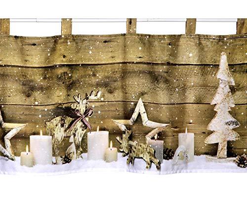 heimtexland ® Scheibengardine m. LED Beleuchtung 45x120 cm Weihnachten Hüttenstil Fensterdeko Weihnachtsdeko Typ589