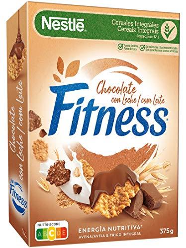 Nestlé Fitness Cereales con Chocolate con Leche Copos de Trigo Integral, Arroz y Avena, 375g
