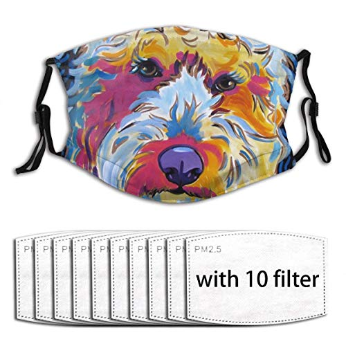 Novelty Mouth Guard with Replaceable Filters Activated Carbon Guard for Party Traveling, Cycling Washable Breathable Anti Pollution Warm Guard, Labradoodle Dog Pop Art Pet Portrait - 10 Filter