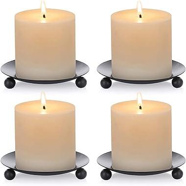 Pcs of 4 Iron Candle Plate, Support de Bougie, Noir, Décoratif, Plaque de Bougie en Fer, Support pour Bougie de 11cm de Diamè