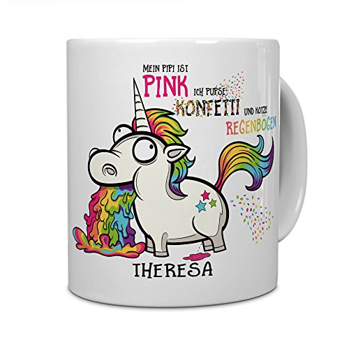 printplanet® Tasse mit Namen Theresa - Motiv Einhorn - Namenstasse, Kaffeebecher, Mug, Becher, Kaffeetasse - Farbe Weiß