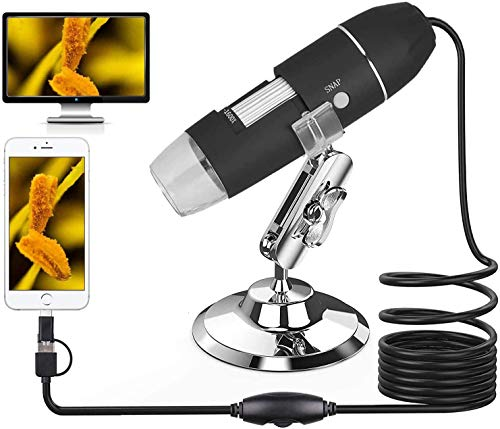 USB Digital Microscope, 3 in 1 Handheld 1600X Magnification Endoscope, 8 LED Mini Video Camera with OTG Adapter ((Micro USB&Type-C)) and Metal Stand, Compatible with Mac Window 7 8 10 Android Linux