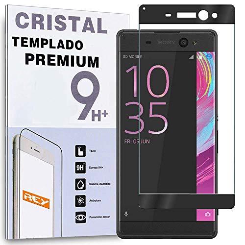 REY Protector de Pantalla Curvo para Sony Xperia XA Ultra, Negro, Cristal Vidrio Templado Premium, 3D / 4D / 5D