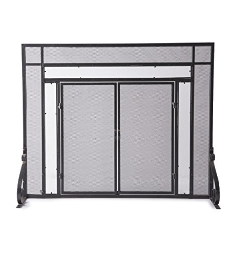 Plow & Hearth Small Fireplace Screen with Hinged Magnetic Doors, Tubular Steel Frame, Tempered Glass Accents, Metal Mesh, Free Standing Spark Guard, Decorative Design, Matte Black Finish, 38 W x 31 H