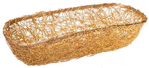 Aluminum Mesh Gilded Catch-All Storage Basket, Large Woven Loaf Basket, 17-inch
