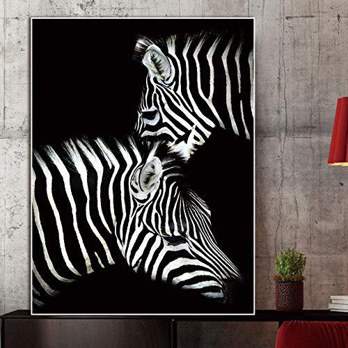 YuanMinglu Moderne Schwarz-Weiß-Tierplakate und Leinwanddrucke Wandkunst Pferdepudel und andere Tiere dekorative Wandbild rahmenlose Malerei 50x75cm