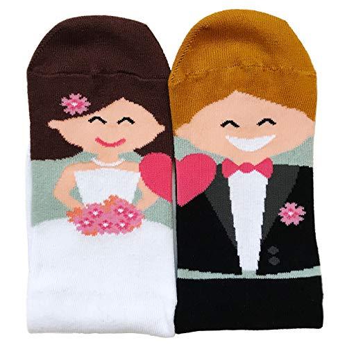 Madyes Socken Hochzeit lustig Braut Bräutigam Accessoire Geschenk kalte Füße Herren Damen Deko Dekoration Hochzeitssocken (36-40)