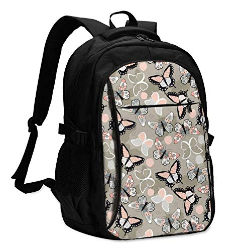 XCNGG Colorful Butterflies and Flowers Travel Laptop Backpack with USB Charging Port Multifunction Work School Bag