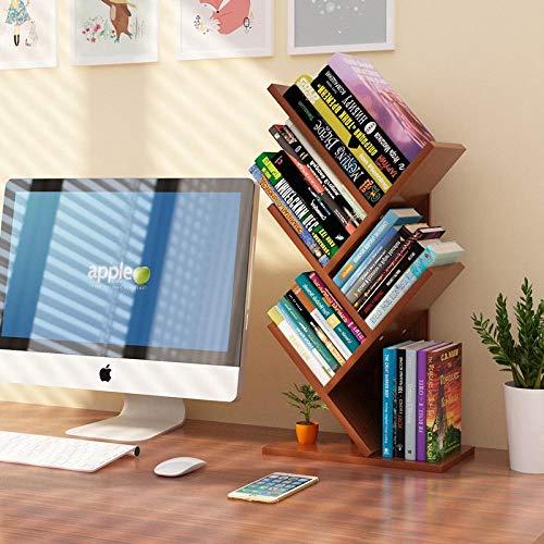 Mesa simple estantería en forma de árbol estante de almacenamiento de oficina pequeñaNuez roja