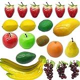 Woohome 20 Pz Frutas Decorativo Frutas artificiales para Decoración Set de Frutas Artificiales para Decoración Falso Limón Plátano Manzana Uva Melocotón Naranja para Fotografía de Fiesta