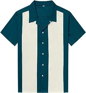 Anchor MSJ Men's 50s Clothing Cotton Retro Mens Shirts Short Sleeve Bowling Shirts Casual Button-Down Shirts