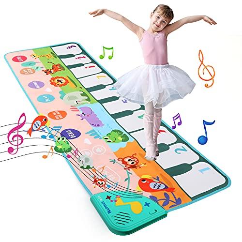 LEADSTAR Alfombra de Piano,Alfombra Musical con 8 Animales Sonidos,Touch Alfombra Musical Teclado,Juguetes Musicales para Bebés, Niños y Niñas de 1 a 5 Años (110*36cm)