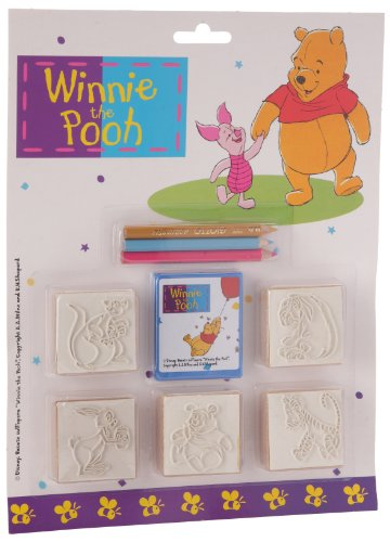 Multiprint Blister 5 Sellos para Niños Disney Winnie The Pooh, 100% Made in Italy, Sellos Personalizados para Niños, en Madera y Caucho Natural, Tinta Lavable no Tóxica, Idea de Regalo, Art.05770