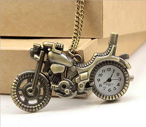 YHWW Montre de Poche Nouveau Bronze Vintage Rétro Moto Moto Montre De Poche Collier Pendentif Femmes Montres Montres À Quartz Cadeaux