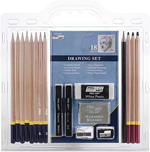 Pro art pencil set sketch & draw, 18 piece, graphite & charcoal