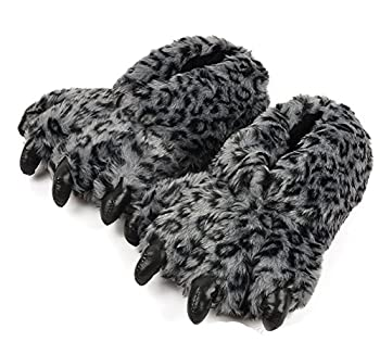 Tonwhar Grizzly Bear Paw Wool Leopard Series Slippers  dark grey