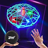 Dwi Dowellin Hand Operated Drone for Kids or Adults, 10 Minutes Long Flight Time LED Mini Flying Ball Drones Hands Free Throw and Go UFO Toys, Great Gift for Boys and Girls, Blue