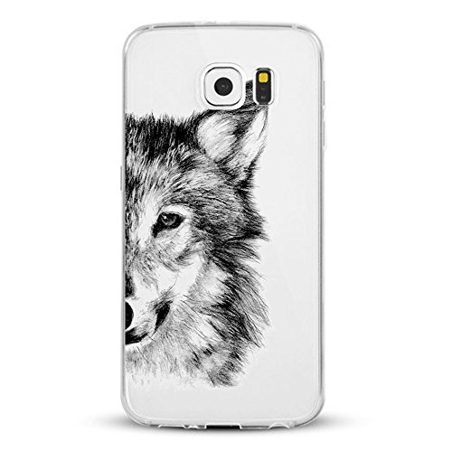 Caler Funda Samsung Galaxy S7 Edge Case, Suave TPU Gel Silicona Ultra-Delgado Ligera Anti-rasguños Patrón Animal Carcasa