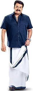 MCR Men's Pure Cotton Double Dhoti(160_White With Colour Border_4m)