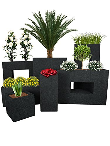 Pflanzwerk® Pflanzkübel TUB Granit Anthrazit 30x60x30cm *Frostbeständiger Blumenkübel* *UV-Schutz* *Qualitätsware*