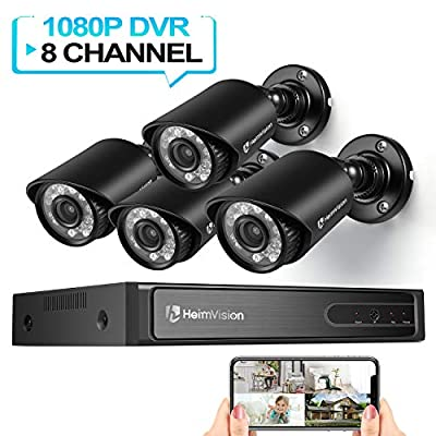 HeimVision HM245 1080P (5MP-Lite) Security Camera System, 8CH 4Pcs Indoor/Outdoor Wired Surveillance DVR Camera System with Night Vision, Motion Detection, Email Alerts, No HDD