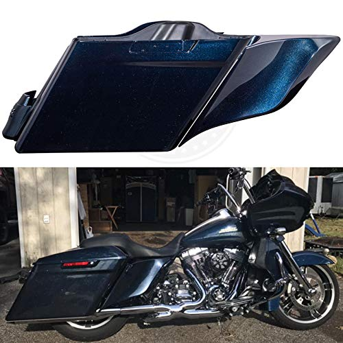 Best Price Advanblack Cosmic Blue Pearl 4.5 inch Stretched Saddlebags Extended Side Covers Fender Ex...