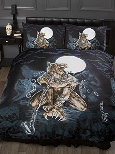 Double Bed Loups Garou, Alchemy Gothic Duvet/Quilt Cover Bedding Set, Werewolf, Full Moon, Wolf, Skulls, Bats, Graveyard, Chains, Black, Blue, Brown, White