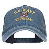 e4Hats.com US Navy Veteran Military Embroidered Washed Cap - Navy OSFM