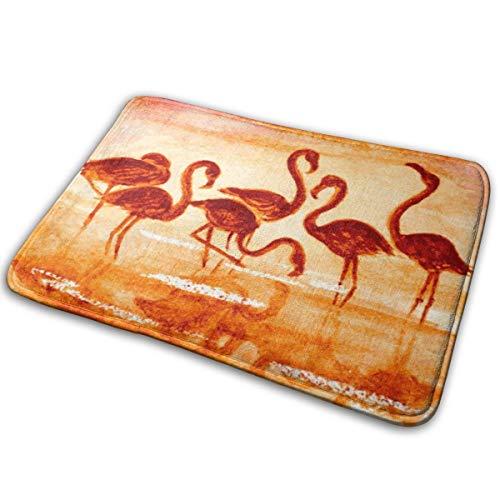 N/C Felpudo Flamingo en el atardecer Vector Imagen Antideslizante para Puerta al aire libre Alfombra de Entrada Decoración del Hogar 15.7