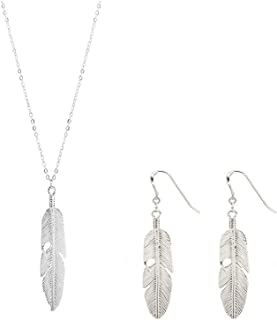 Simple Long Leaf Feather Necklace Earring Set Chic Sweater Chain Statement Jewelry for Women Silver Gold Leaf Chocker