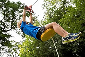Happybuy 80/100ft Zip Line Kit Kids Adult Zip Line Trolley Slackers Zip Lines with Seat and Handle Heart Shaped Trolley for Backyard Entertainment  Yellow 80FT