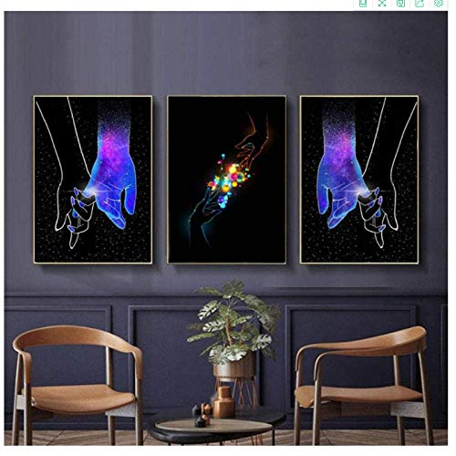 Canvas Artwork Painting 3x60x80cm(23.6x31.5in) no frame Nordic Blue Starry Lover Hand in Hand Picture Decor Wall Art Posters Prints Wall Pictures for Living Room