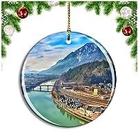 Kufsteinインタルバレーオーストリアクリスマスデコレーションオーナメントクリスマスツリーペンダントデコレーションシティトラベルお土産コレクション磁器2.85インチ