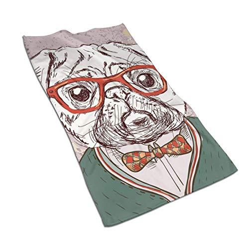 Toalla de microfibra para perro, diseño hipster con gafas rojas, 69,8 x 44,5 cm, poliéster, diseño divertido, superabsorbente para baño, cocina, lavado de coche, toalla de limpieza
