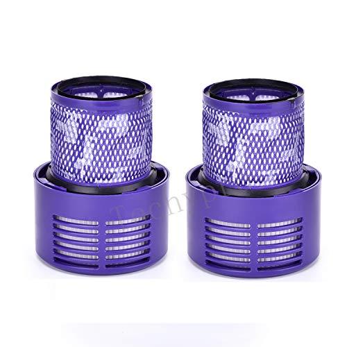 Techypro Paquete de 2 filtros V10 de repuesto para Dyson Cyclone V10 Animal/Absolute/Motorhead/Total Clean, en comparación con la pieza # 969082-01