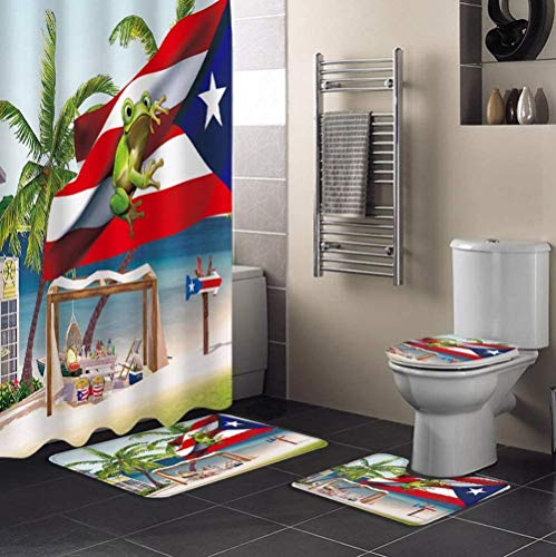 4 Pcs Shower Curtain Sets with Non-Slip Rugs Toilet Lid Cover Bath Mat Puerto Rico Flag Frog Summer Beach Bathroom Decor Shower Curtain with 12 Hooks Waterproof Polyester Fabric-L