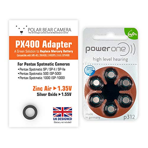 PX-400 Kamera-Adapter, 1,35 V, inkl. 6 Batterien (ersetzt Quecksilberzelle) Für MR-42 RM400, MRB400, H-B, für Pentax Spotmatic SP SP-II SP-500 SP-1000 500 1000