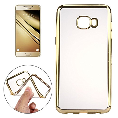 Shockproof Phone Case for Samsung Galaxy A9 / A900 Electroplating Transparent Soft TPU Protective Cover Case Shock Absorption Cover Phone Cover (Color : Gold)