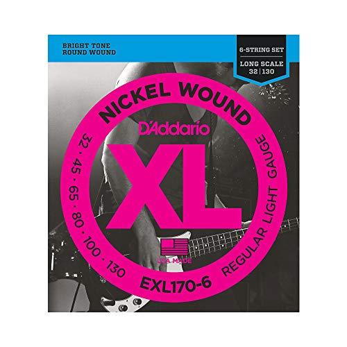 D'Addario EXL170-6 6-String Nickel Wound Bass Guitar Strings, Light, 32-130, Long Scale